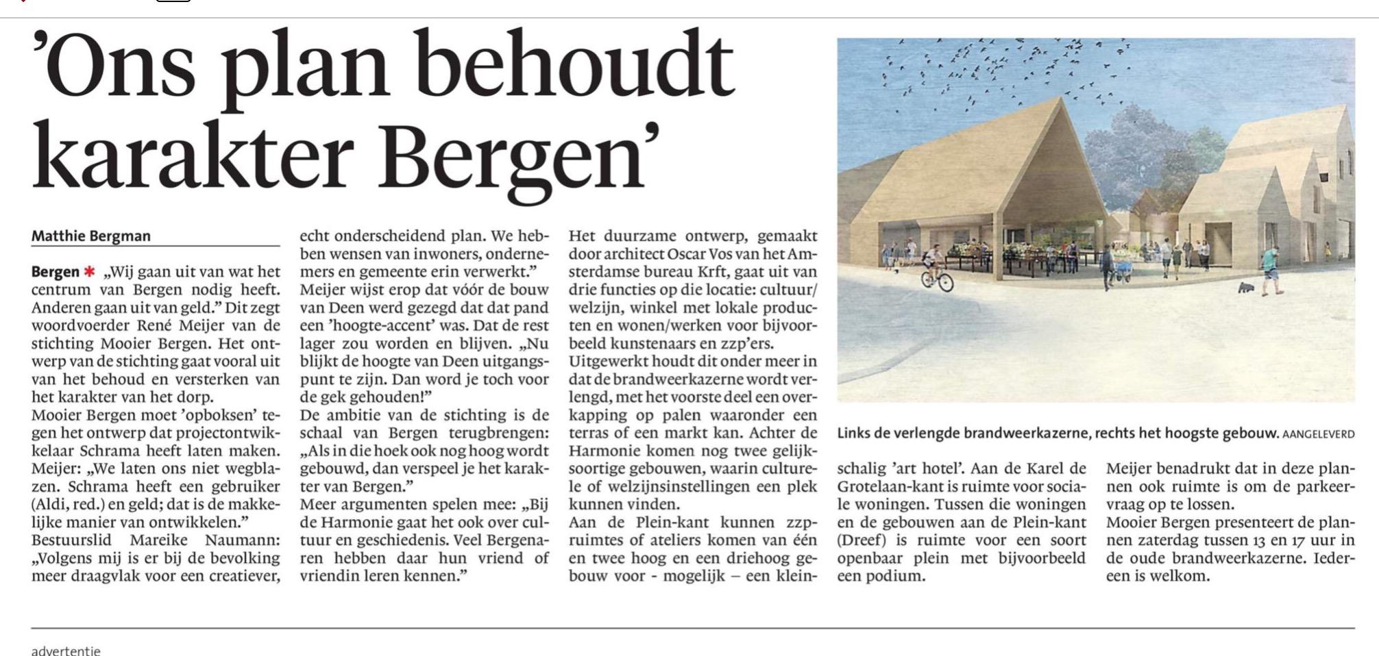 Ons plan behoud karakter Bergen